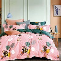 Sleep Buddy Sleep Buddy Set Sprei dan Bed Cover Pink Monstera Cotton Sateen 160x200x30