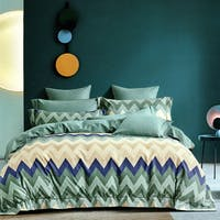 Sleep Buddy Set Sprei Chevron Green Cotton Sateen 160x200x30