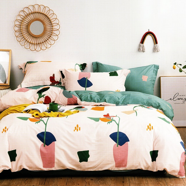 Sleep Buddy Set Sprei dan Bed Cover Bigger Drawing Cotton Sateen 160x200x30