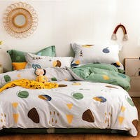 Sleep Buddy Sleep Buddy Set Sprei dan Bed Cover Scandi Shape Cotton Sateen 200x200x30