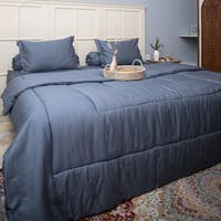 Sleep Buddy Set Sprei dan Bed Cover Plain Dark Grey Katun Jepang 160x200x30