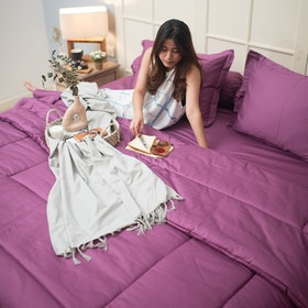 Sleep Buddy Set Sprei dan Bed Cover Plain Lt Plum Katun Jepang 120x200x30