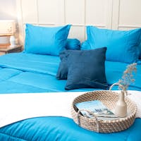 Sleep Buddy Set Sprei dan Bed Cover Plain Med Blue Katun Jepang 160x200x30