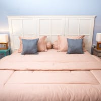 Sleep Buddy Set Sprei dan Bed Cover Plain Peach Katun Jepang 160x200x30