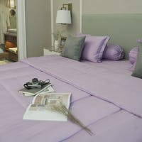 Sleep Buddy Set Sprei Plain Lilac Jacquard Tencel 160x200x40