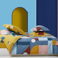 Sleep Buddy Set Sprei dan Bed Cover Scandi Shape Cotton Sateen 180x200x30