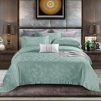 Sleep Buddy Set Sprei dan Bed Cover Half Green Jacquard Tencel 160x200x40