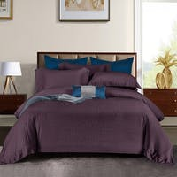 Sleep Buddy Set Sprei dan Bed Cover Dark Purple Stone Jacquard Tencel 120x200x40
