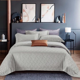 Sleep Buddy Set Sprei dan Bed Cover Zone Grey Jacquard Tencel 200x200x40