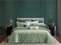 Sleep Buddy Set Sprei dan Bed Cover Anthea Mint Green Jacquard Tencel 160x200x40