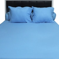 Sleep Buddy Set Sprei Plain Blue CVC 160x200x30