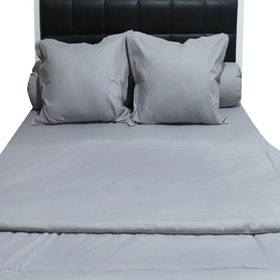 Sleep Buddy Set Sprei dan Bed Cover Plain Grey CVC 180x200x30