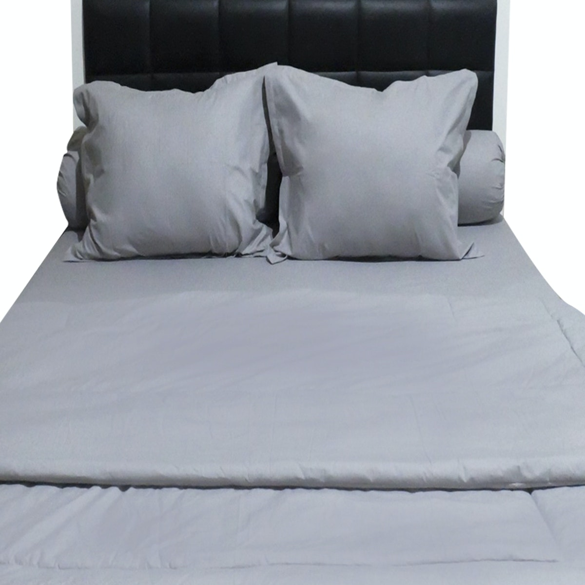Sleep Buddy Set Sprei dan Bed Cover Plain Grey CVC 200x200x30