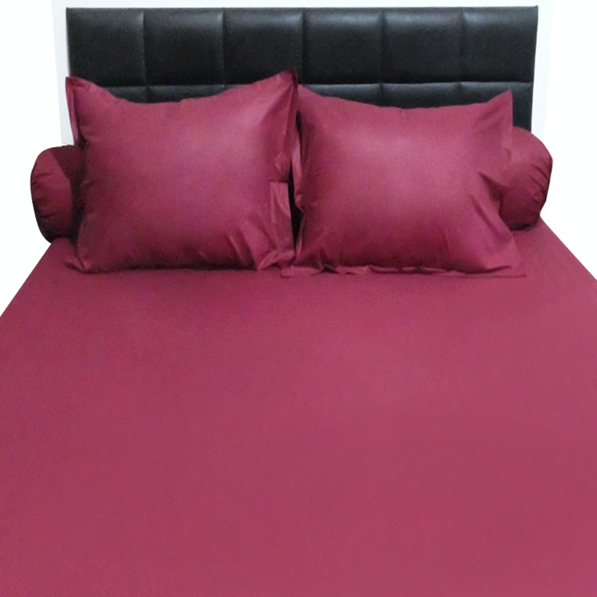 Sleep Buddy Set Sprei Plain Maroon CVC 160x200x30