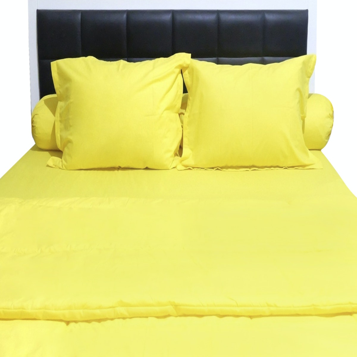 Sleep Buddy Set Sprei dan Bed Cover Plain Yellow CVC 160x200x30