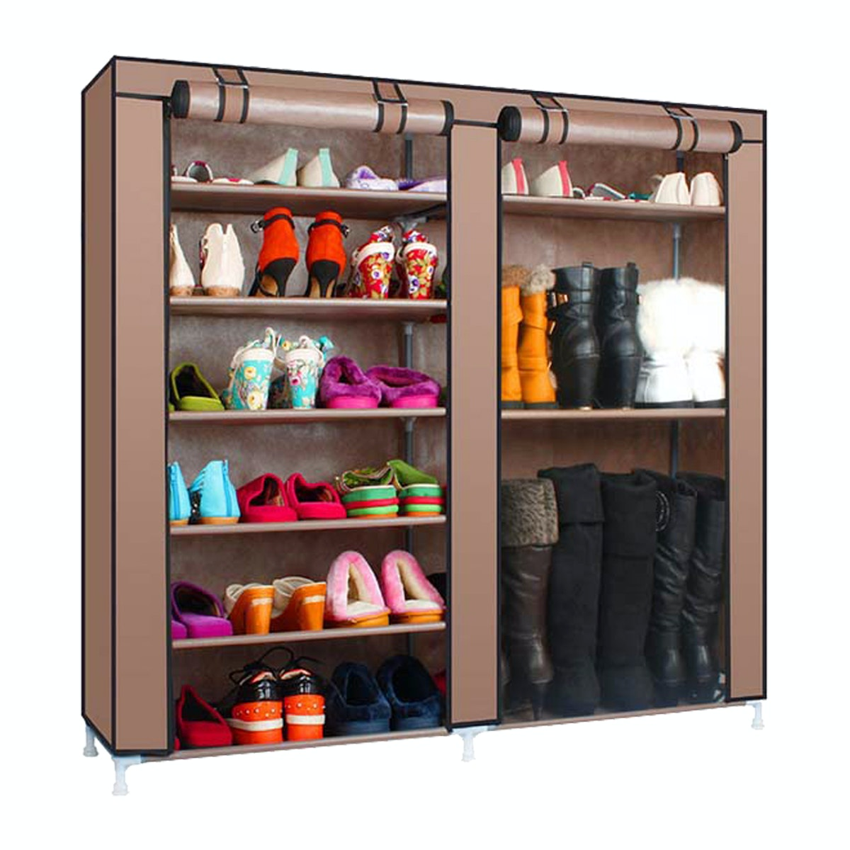 StarHome Rak Sepatu 9 Tingkat dengan Penutup Debu Model Lebar / Horizontal - Shoe Rack 9 Layers with Dust Cover - Portable - Coklat
