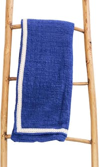Tan Living Bed Throw Tumanggal Biru