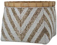 Tan Living Basket Bamboo Beaded ethnic medium