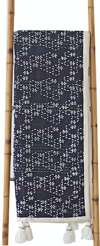 Tan Living Throw Sashiko Navy Blue