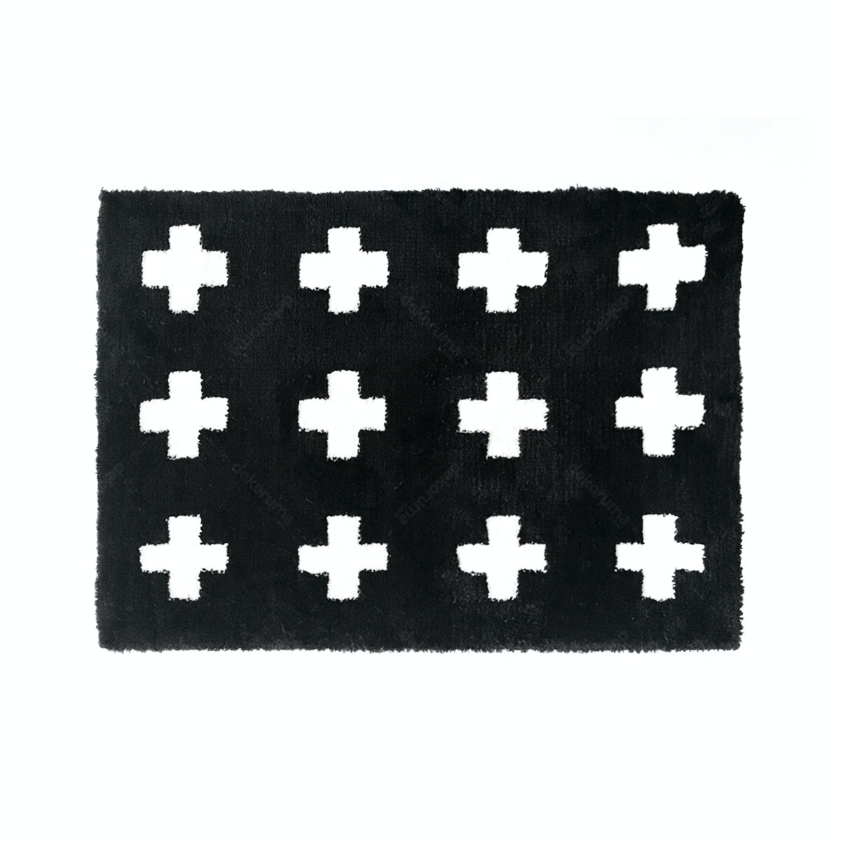 The Alice's Place Keset Pop Cross Fur Mat Black 50x70cm