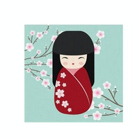 Tees Kokeshi Doll 30X30Cm Tosca (Poster)