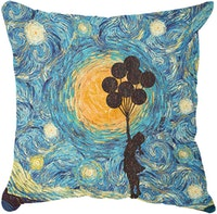 Tees Flying Girl With Balloons At Starry Night Pillow (Insert+Cusion Cover 40X40cm)