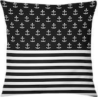 Tees Nautical Black White (Insert+Cushion Cover 40X40Cm)