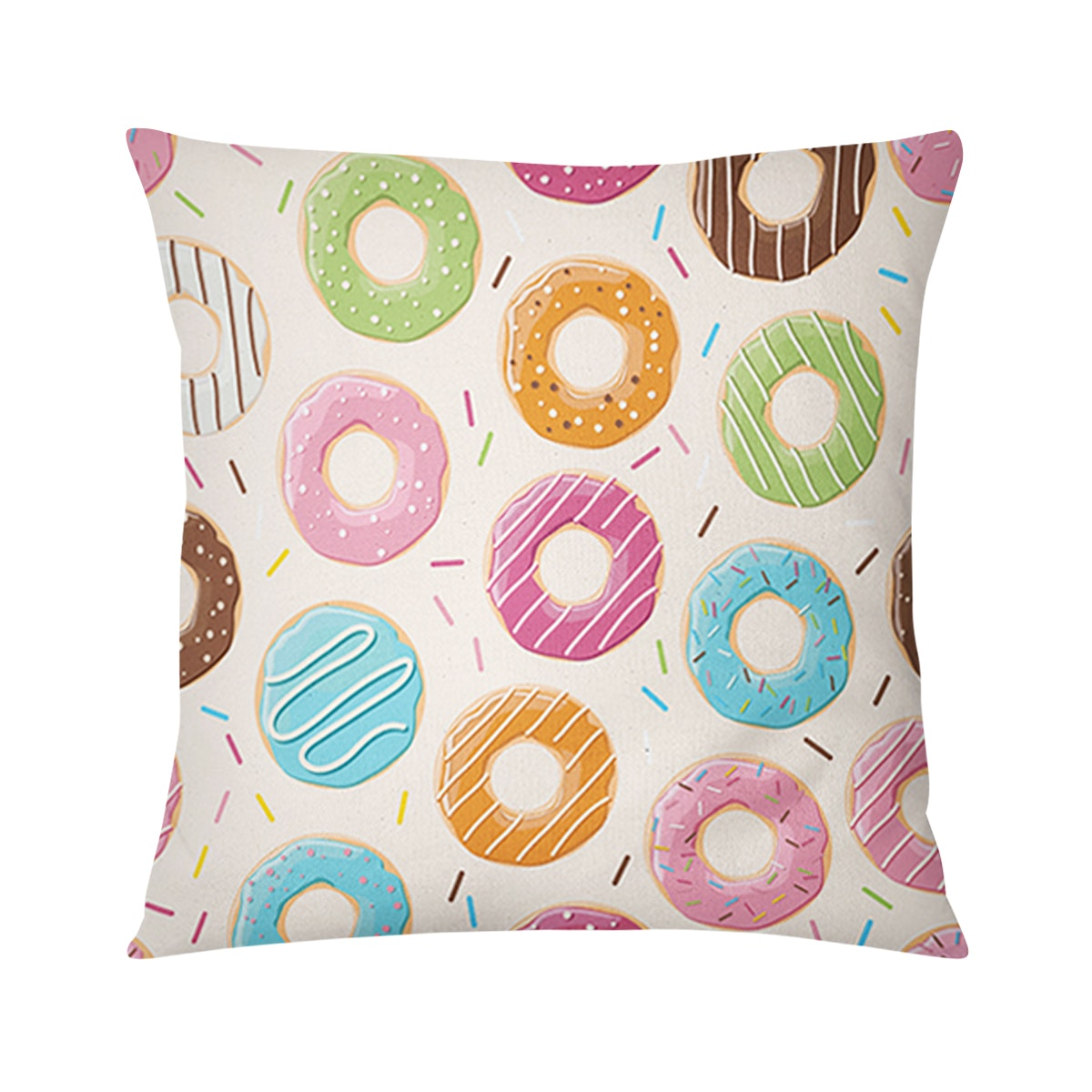 Tees Cushion Motif Colorful Donuts Pillow