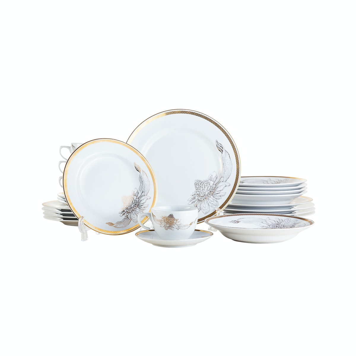 Tafel21 Dinner Set/Piring Makan Set Kecombrang Gold Elegan 20 pcs/set