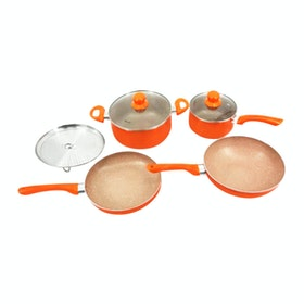 Weston Panci Set Orange Marble Alumunium 7 pcs/set
