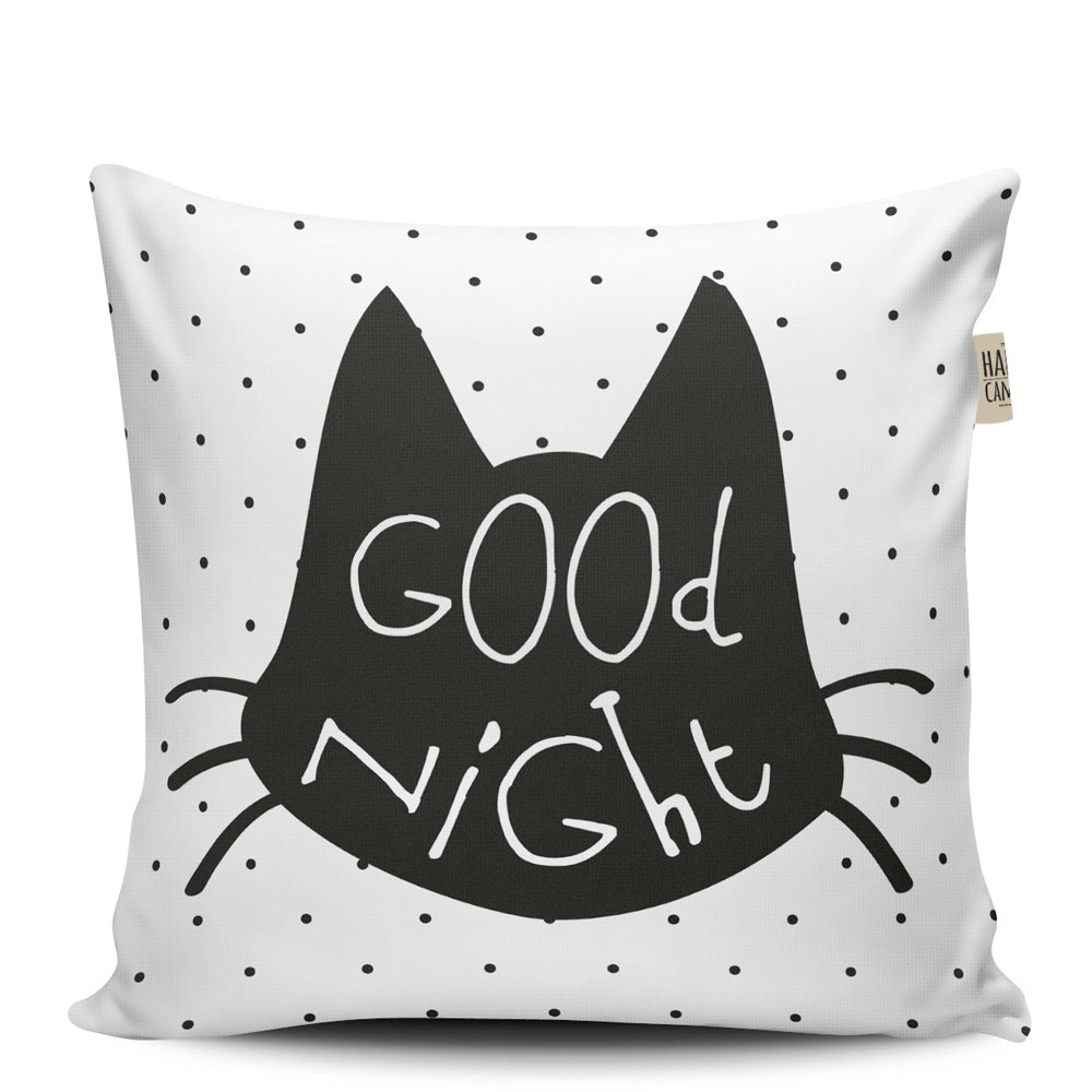 The Happy Camper Big Goodnight Cat Cushion 40x40cm