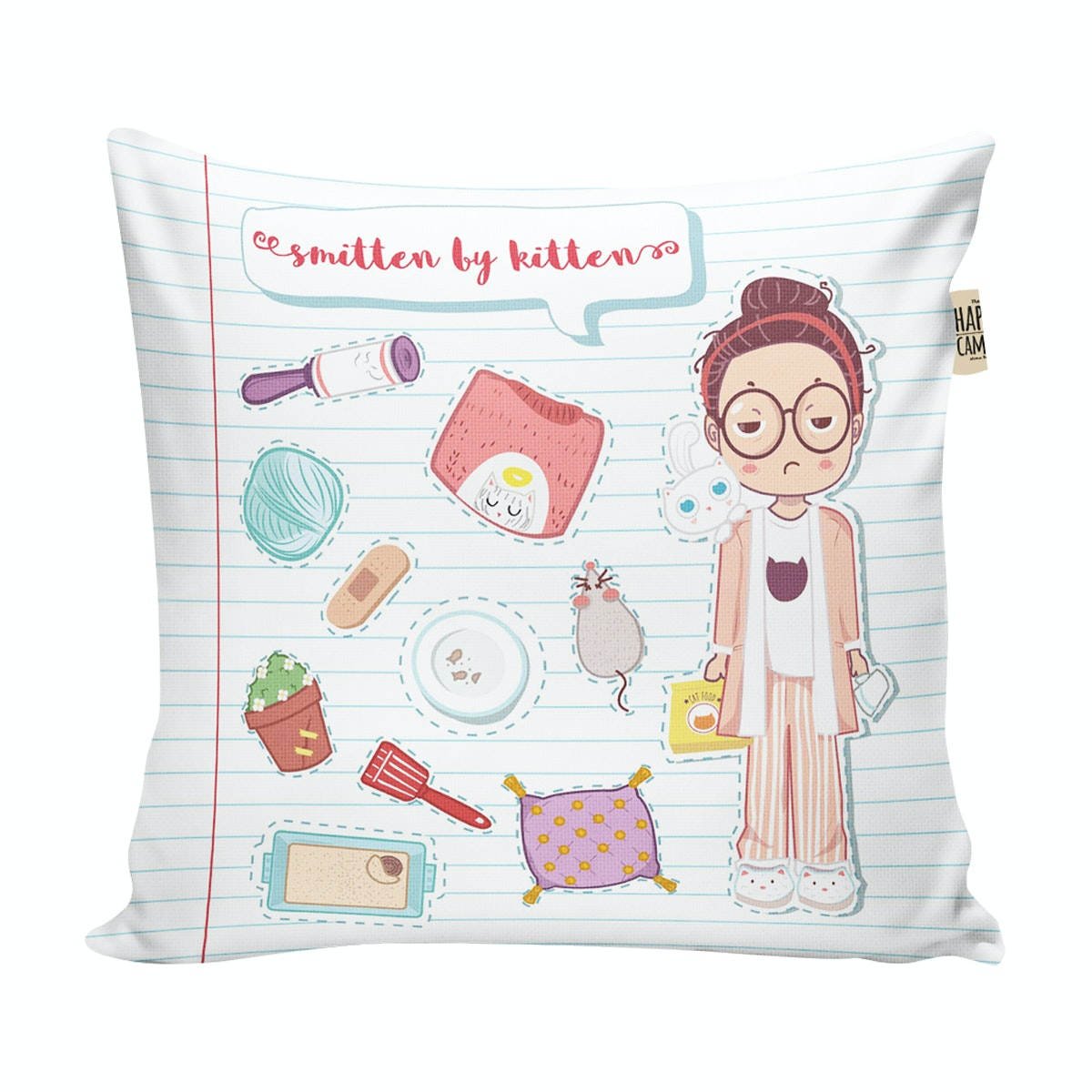 The Happy Camper Smitten by Kitten - cushion cover