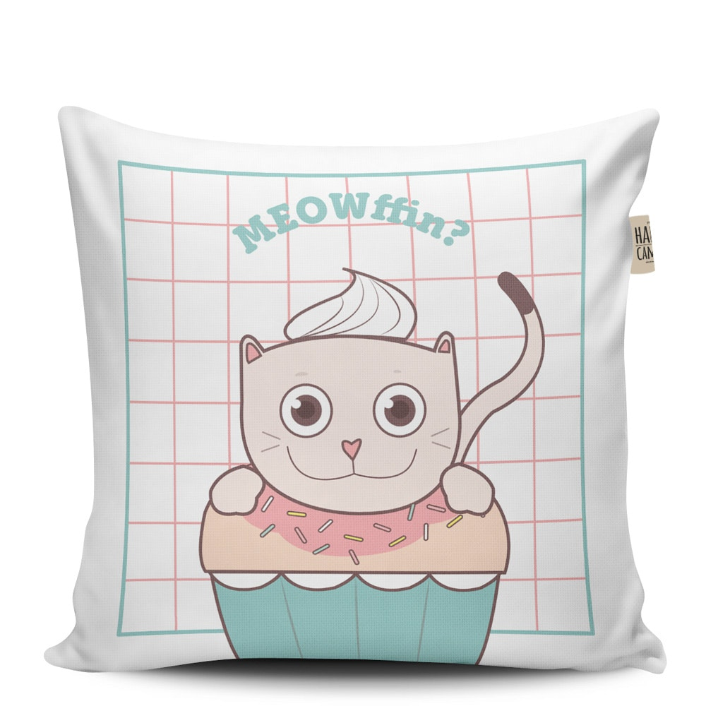The Happy Camper Meowffin Cushion