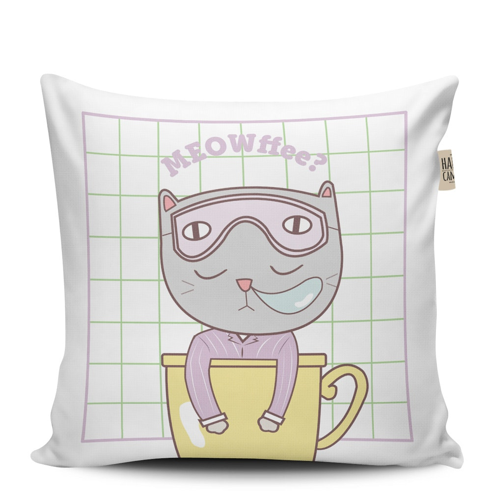 The Happy Camper Meowffee Cushion Cover
