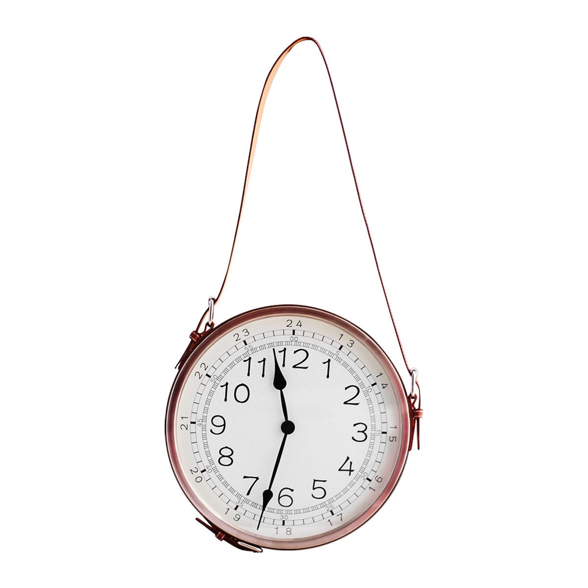 Thema Home Wall Clock Metal W/leather Belt