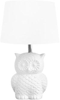 Kana Furniture Table Lamp Stoneware Owl W/ Linen Shade