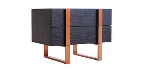 Kana Furniture Night Stand Dali Black Oak/Rose Gold Centro