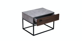 Kana Furniture Night Stand Libbia Walnut Cement