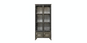 Kana Furniture Metal Cabinet 2 Shelves Distressed Black