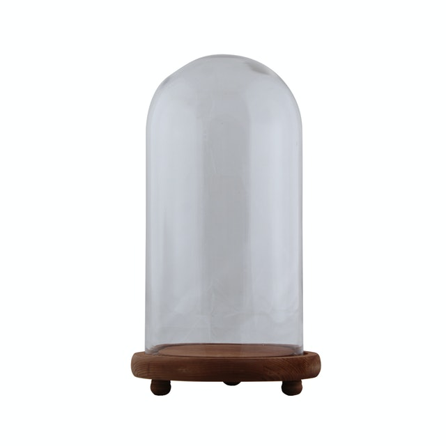 Kana Furniture Vase Glass Clear Wood Base 11540