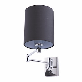 3+Projects Lampu Dinding / Wall Lamp Black Gauze Fabric Shade 3+DL-WD3008-1-BL-VG