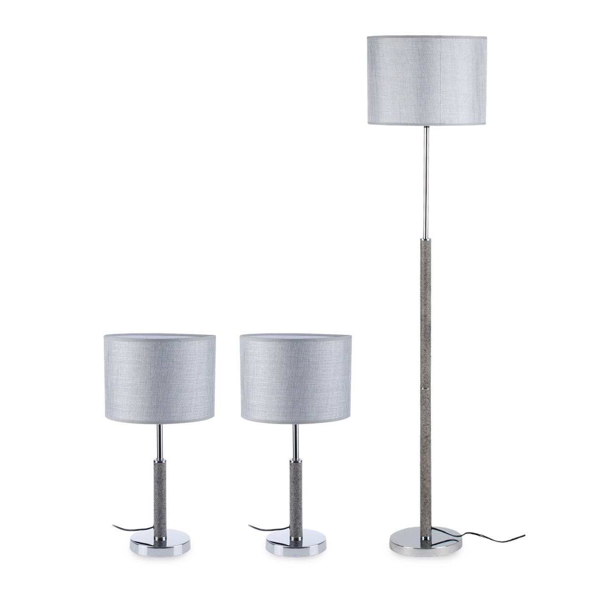 3+Projects Combo Set (2 Table Lamp + 1 Floor Lamp) Grey 3+DL-4033-GR-VG