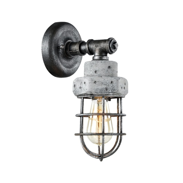 3+Projects Lampu Dinding/Wall Lamp Steel+Cement Grey With Antique Point