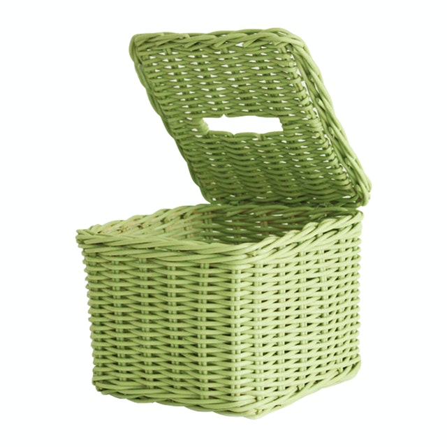 The Storage Shoppe Rattan Tissue Box Green