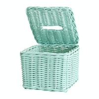 The Storage Shoppe Rattan Tissue Box Mint