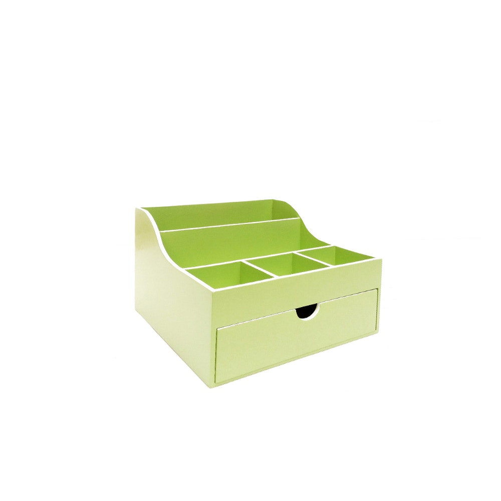 The Storage Shoppe Wooden Desk Organizer and Drawer Green