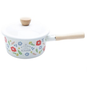 UCHII Enamel Sauce Pan Flower Pattern Pot with Wooden Handle dan Lid Panci Saus Anti Lengket [18 cm]
