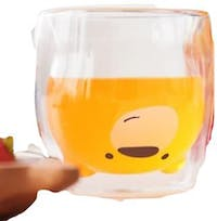 UCHII Double Wall Glass Milk Cup - Smile Bear Face | Gelas Susu Anak