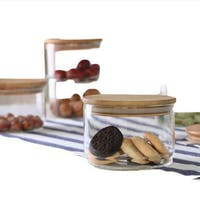 UCHII Glass Stackable Jar + Lid | Set Toples Kaca Susun Serbaguna 3pcs
