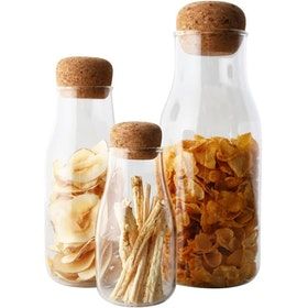 UCHII Bottle Shaped Glass Storage Bamboo Lid | Botol Kaca Multi Use L